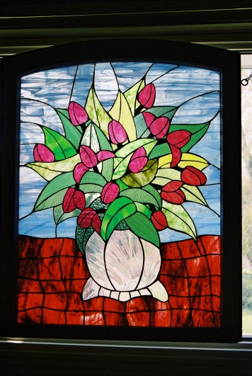 Vintage Vase, Red Tulips
