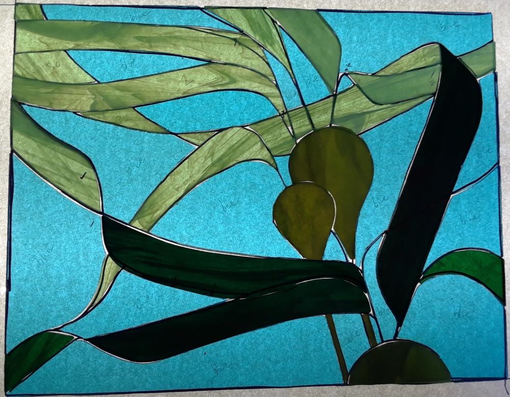 kelp sky blue glass